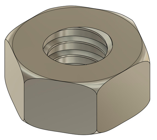 """Machined Hex Nut   Thread 00-90 (.052"""" / 1.27mm), ACF (across the flats) 2.2mm / .089""""  Material: Nickel Silver, a copper alloy resistant to tarnish often used in jewelry and eyewear.  Part Color Finish is Silver  Price is for 100 count package with bulk pricing available. Please contact sales@minitaps.com for bulk pricing pricing or any additional questions or information."""