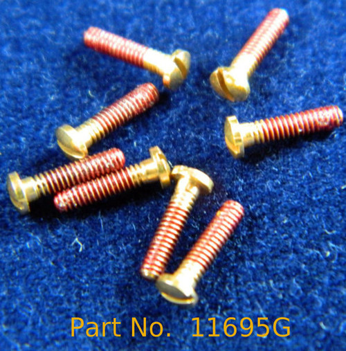 """Machine Screw Pan head, thread M1.4 pitch .30mm (thread also called 1.4 UNM) head diameter 2.5mm, Length shank 1/4"""" or 6.2mm and overall length is 6.9mm material Stainless steel, price for 100 pieces, finish color Gold platted """"Flash not real gold"""" and coated thread.  This part is a modified NAS-722-140-250  Part has the Thread coated to help prevent the screw from working loose and it can be removed with acetone."""