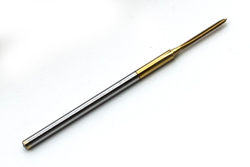 """000-120 Tap 3 Flute Plug TiN (Titanium Nitride) Coating American Miniature (to ANSI B18.6.3) Size 000 Thread 120 Per Inch Threading Length Approximate 8mm (See notes below) Shank 0.060"""" Made from Hardened High Speed Steel Designed for Production Tapping in Automatic Screw Machines, Tappers, CNC Lathes, and CNC Mills."""