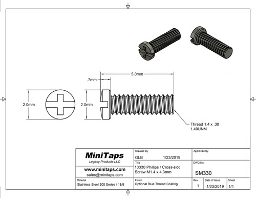 Thread M1.4 with pitch .30mm length 4.3mm Machine Screw Pan Head with Philips X-Slot drive overall length 5.0mm.  Material is stainless steel colored Matt Black with a very nice Jewelry Grade finish.  This screw is sold in a 100 count package.  Please note this screw is part No. 10330 with Black finish.