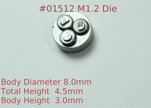 Metric Thread forming roll die M.90 also called .90UNM Habegger brand style: Non-Adjustable body diameter 8mm, Total Height 4.5mm with  three Rollers made of High speed Steel then hardened. Image is representative of part in our stock.