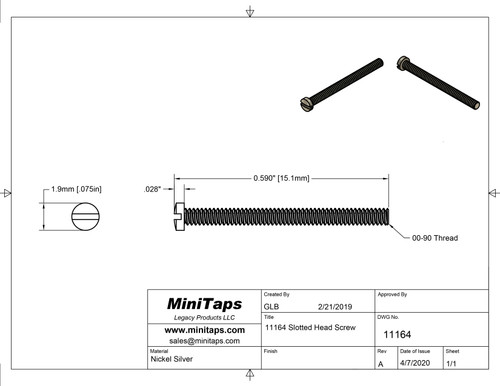 """Machine Screw   Thread 00-90 (0.046"""",) Head Diameter .075"""", Overall Length (OAL) .591"""" (15.1mm,) Threaded Length 9/16""""   Material: Nickel Silver, a premium copper alloy resistant to tarnish often used in jewelry and eyewear.   Part Color Finish is Gold   Matching Hex Nut #11101G       Price is for 100 count package with bulk pricing available. Please contact sales@minitaps.com for bulk pricing pricing or any additional questions or information."""