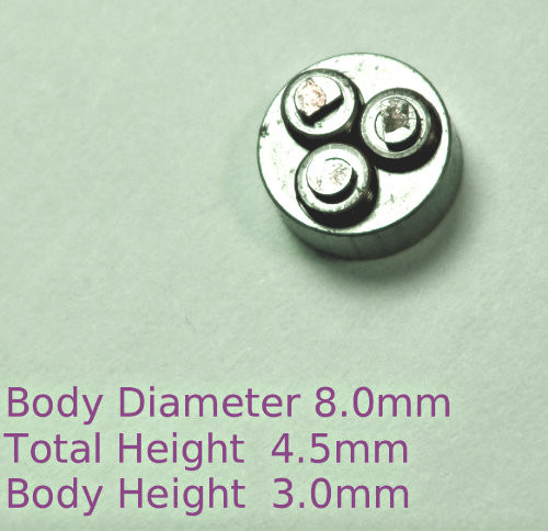 American ANSI miniature 000-120 Thread forming roll die sizes 000-120 UNS Class 2 (standard size) Habegger brand style: Non-Adjustable body diameter 8mm, Total Height 4.5mm with  three Rollers made of High speed Steel then hardened. Image is representative of part in our stock.