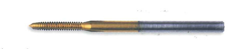 """M.9 Tap, aka: .90UNM Tap design:  3 flute Plug with TiN coating made to DIN standards thread pitch 0.225mm threading length approximate 4.0mm, Shank 0.060"""" made from hardened high speed steel our taps are designed for production taping in Automatic screw machines, Tappers, CNC lathes and CNC mills. The coating used TiN (Titanium Nitride) very thin and smooth, increases tap performance and tool life.  In our shop TiN coated taps typically tapped three times the number of holes. Overall length is 25mm (0.984"""") threaded length (tip to end of thread) 4.00mm (0.160"""") lengths can vary slightly between batches.  Price listed is for 1 to 9 pieces."""