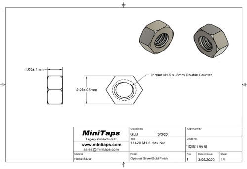 "Machined Hex Nut   Standard Thread M1.5 (1.50UNM,) 2.25mm / .089"" ACF (Across the Flats)   Nickel Silver, Finish Color Dark Silver. Resistant to Tarnish.   Made on precision screw machines.   Price is for 100 count package with bulk pricing available.   Please contact sales@minitaps.com for bulk pricing pricing or any additional questions or information."