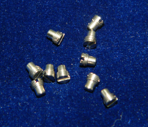 """Machine Screw special, Short head, thread M3.0 pitch .35mm (fine pitch) Head diameter 3.0mm, Length (shank) 1.8mm / 0.071"""" max OAL 3.5mm material Stainless steel #303, price for 10 count bag, finish color silver and Polished  Screw made on precision screw machines for use in dental hand piece."""