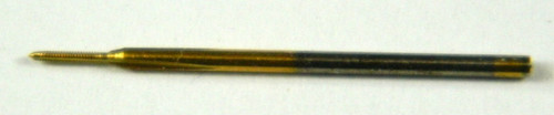 "#02191  M.30 Tap, aka: M.3 & .30UNM Tap design:  3 flute Plug with TiN coating made to DIN standards thread pitch 0.08mm threading length approximate 2.mm, Shank 0.039"" made from hardened high speed steel our taps are designed for production taping in Automatic screw machines, Tappers, CNC lathes and CNC mills. The coating used TiN (Titanium Nitride) very thin and smooth, increases tap performance and tool life.  In our shop TiN coated taps typically tapped three times the number of holes compared to uncoated. Image is representative of the item for sales. Overall length of Tap is 22mm (0.870"") threaded length (tip to end of thread) 2.mm (0.078"") lengths can vary slightly between batches.  Price listed is for 1 to 9 pieces."