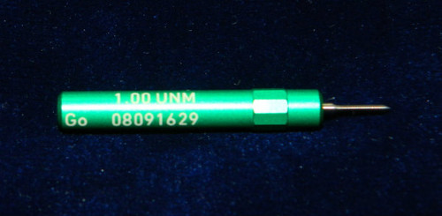 "1.00UNM Plug ""Go"" Gage pitch .25mm; UNM stands for ""United National Miniature"" the American Metric miniature Thread standard. This gage is one piece handle containing Go Precision Thread Gage made of High Speed Steel then hardened. Class of fit 1.00UNM is similar to metric 6H for M1.0 thread. Picture is representative of part,  Brand is;"" MiniTaps"" made specifically for us in Switzerland."