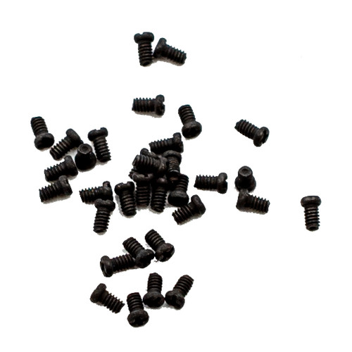 Thread M1.4 pitch .30mm length 2.3mm Machine Screw Pan Head with Philips X-Slot drive overall length 3.0mm material stainless steel color dyed Black,  100 count package  Alternative we have stock of this item in bare silver color stainless steel. Note orders over 1,000 pieces are packaged in a single bulk plastic bag unless specify packaging is agreed to prior to ordering.