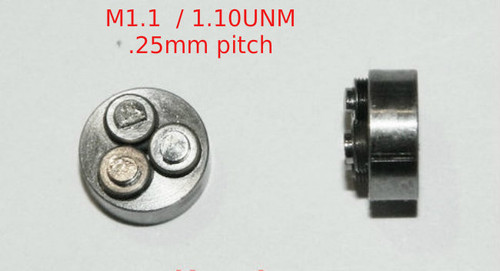 Metric Thread forming roll die M1.10 also called 1.10UNM Habegger brand style: Non-Adjustable body diameter 8mm, Total Height 4.6mm with  three Rollers made of High speed Steel then hardened. Image is representative of part in our stock.