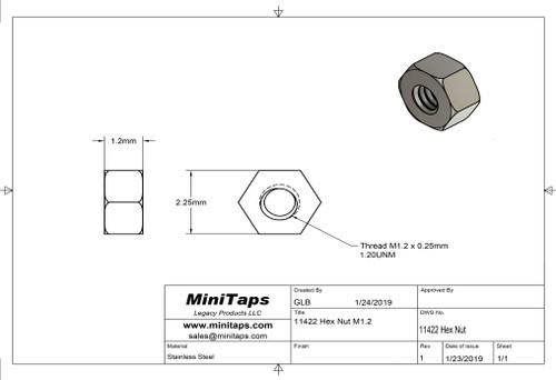 "Machined Hex Nut   Standard Thread M1.2 (1.20UNM,) 2.25mm / .089"" ACF (Across the Flats)   Nickel Silver, Finish Color Dark Silver. Resistant to Tarnish.   Made on precision screw machines.   Price is for 100 count package with bulk pricing available.   Please contact sales@minitaps.com for bulk pricing pricing or any additional questions or information."