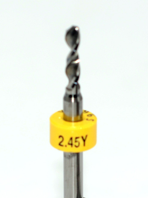 """Drill bit Size: 2.45mm       Flute length: sizes .50 to .65mm 8.90mm, sizes .70 to 2.50mm 10.50mm  Drill Point 135°, Shank .125"""" / 3.18mm,Overall length 38mm /1.50""""  All bits have plastic size rings, Material Micro-Grain Carbide Grade ISO K20 / K30  Drill bits Self centering on flat surface Other surfaces use center drill first"""