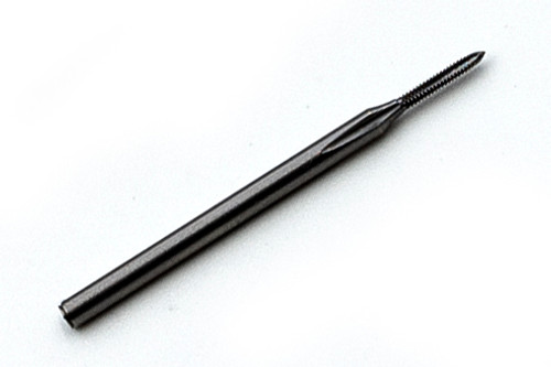 """S 0.80  Tap 3 flute Plug made to """"S"""" standards thread pitch 0.20mm threading length approximate 4.0mm, Shank 0.040"""" made from """"HSS""""  hardened high speed steel our taps are designed for production taping in Automatic screw machines, Tappers, CNC lathes and CNC mills.  Image is representative of the item for sales. This tap creates threads to: """"S"""" or NIHS specifications. That includes ISO 1501 """"S""""  Metric System Right Hand sizes M.5 to M1.4 also called Horological (watch) series N.I.H.S. 06-02. Overall length of Tap is 25mm (.984"""") threaded length (tip to end of thread) 4.0mm (0.160"""") lengths can vary slightly between batches.  Price listed is for 1 to 9 pieces."""