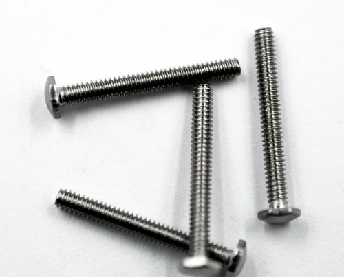 "Machine Screw Hex Head  Thread M1.4 (1.40UNM), Pitch .25mm, Head (ACF) Measurement 2.5mm, Threaded Shank Length 11.7mm, Overall Length 12.5mm  Material Stainless Steel, Finish Color Natural Stainless Steel ""Silver""  The screw head has a slight doom and is polished.   Price is for 100 count package with bulk pricing available. Please contact  us for bulk pricing pricing or any additional questions or information."