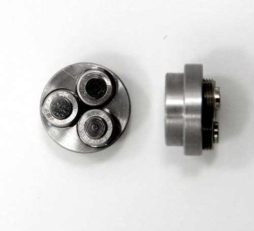 0-80 Class 2 Thread forming roll die Habegger brand style: Non-Adjustable body diameter 8mm  / 10mm, Total Height 5.90mm with  three Rollers made of High speed Steel then hardened. Image is representative of part in our stock.  Holder is item # 1509