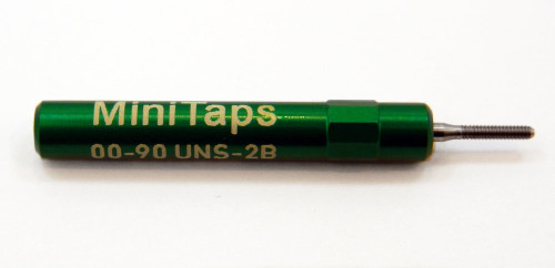 """00-90 UNS-2B Plug Gage UNS stands for (American) """"United National Standard"""" miniature Thread series. This gage is one piece handle containing Go Gage member Precision Thread Gage made of High Speed Steel then hardened. Standard fit is 2B tighter 3B gages are made to order. Picture is representative of part,  Brand is;"""" MiniTaps"""" made specifically for us in Switzerland."""