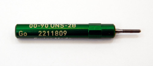 "00-90 UNS-2B Plug Gage UNS stands for (American) ""United National Standard"" miniature Thread series. This gage is one piece handle containing Go Gage member Precision Thread Gage made of High Speed Steel then hardened. Standard fit is 2B tighter 3B gages are made to order. Picture is representative of part,  Brand is;"" MiniTaps"" made specifically for us in Switzerland."