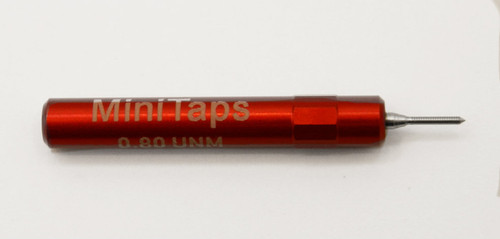 """.80UNM Plug No-Go Gage .20mm; UNM stands for """"United National Miniature"""" the American Metric miniature Thread standard. Precision Thread Gage made of High Speed Steel then hardened. Picture is representative of part,  We have two pieces  in stock.  Brand is;"""" MiniTaps"""" made specifically for us in Switzerland."""