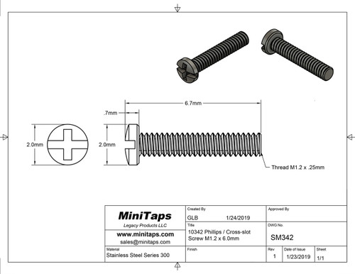Thread M1.2  also 1.20UNM pitch .25mm Shank length 6mm Machine Screw Pan /Cheese Head (modified) with Philips X-Slot drive overall length 6.7mm stainless steel in 100 count package, Please note for orders ten units and above  (1,000 pieces) packaged in bulk plastic bag.