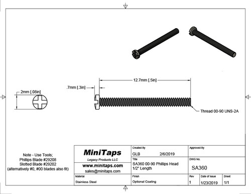 "Thread 00-90 2A Length, under bearing surface (head), 1/2"" (12.7mm) Machine Screw Pan Head with Cross Recessed typically called Philips and Slotted overall length 13.4mm, Head diameter 0.096"" (2.45mm) stainless steel in 100 count package, Please note for orders ten units and above  (1,000/5,000 pieces) packaged in bulk plastic bag. Reference for specifications is ANSI/ASTM 18.6.3"