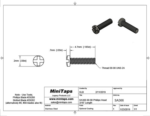 """Thread 00-90 2A Length, under bearing surface (head), 3/16"""" (4.7mm) Machine Screw Pan Head with Cross Recessed typically called Philips and Slotted overall length 5.3mm, Head diameter 0.078"""" (2.00mm) stainless steel in 100 count package, Please note for orders ten units and above  (1,000/5,000 pieces) packaged in bulk plastic bag. Reference for specifications is ANSI/ASTM 18.6.3"""