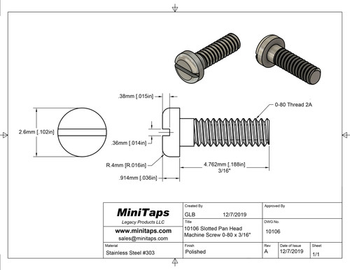 """Precision Machine Screw Pan Head, Thread 0-80 2A x 3/16"""" length, Head Diameter .102"""" (2.60mm), Material Stainless Steel #303, Price is for 100 Pieces, Finish Color Silver."""