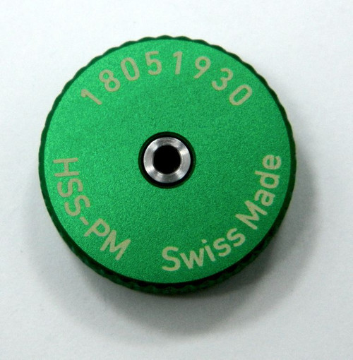 """Picture of Back:Metric Thread Ring Gage 0.80 UNM also M.8 pitch 0.20mm  """"Go"""" Ring member Precision Thread Gage made of High Speed Steel then hardened. Brand is MiniTaps Made in Switzerland to our specifications. Picture is representative of the gage."""