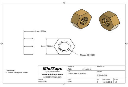"""Machined Hex Nut thread 00-90, ACF 5/64"""" (across the flats) 2.00mm / .079"""", Thickness .040"""" / 1.00mm,  Material: Brass Packaged Price per 100 pieces with bulk pricing available."""