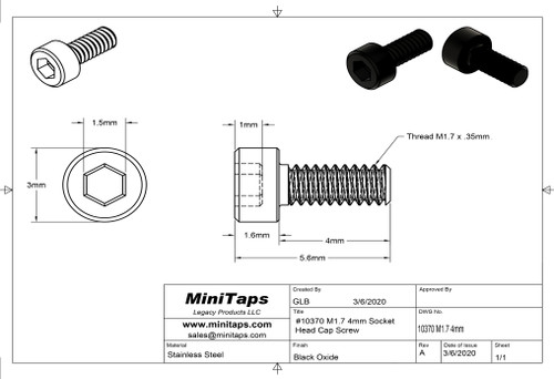 Precision Socket Cap Screw, Thread M1.7 x .35mm x 4mm length, Material Stainless Steel, price for 100 pieces, finish color Black.
