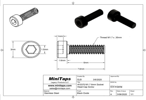 Precision Socket Cap Screw, Thread M1.7 x .35mm x 6mm length, Material Stainless Steel, price for 100 pieces, finish color Black.