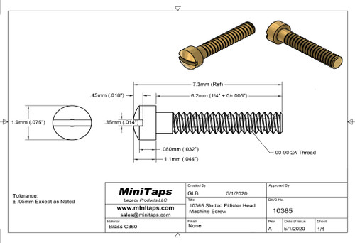 "Machine Screw, Slotted Fillister Head Thread 00-90  2A (0.046"") Head Diameter .075"" Overall Length (OAL) .287"" (7.3mm) Threaded Length 1/4"" Material: Brass #C360 Packaged in 100 Count Bags/Vials"