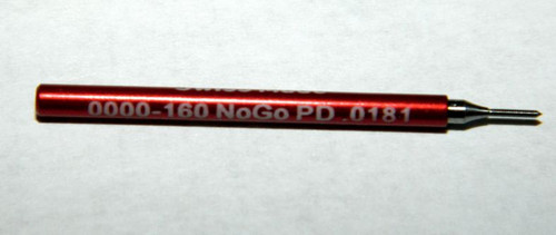 "0000-160 3B Plug No-Go Gage UNS stands for (American) ""National Standard"" miniature Thread series. This gage is one piece handle containing ""Go"" Precision Thread Gage made of High Speed Steel then hardened. Please note that this gage is made to the tighter 3B  Picture is representative of this item in our stock.  Brand is;"" MiniTaps"" made specifically for us in Switzerland.  Factory measurements as our cert included in price."