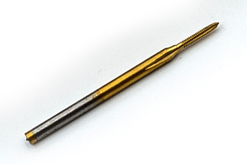 "M.80 X.20mm pitch Tap, Oversized for Preplating Tapping, 3 flute Plug made to ISO 3 (6G) class of fit, threading length approximate 3.05mm, Shank 1.50mm (0.060"") made from hardened high speed steel with surface treatment of TiN."