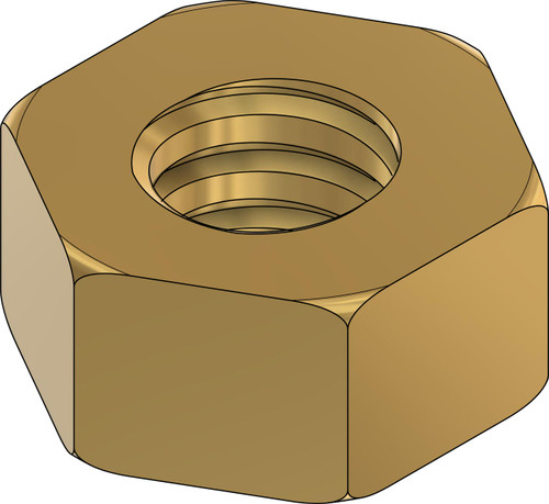 """Picture is the 3D model Machined Hex Nut Thread 000-120 class 2 thread  ACF 5/64"""" (across the flats) 2.00mm  Thickness 0.39"""" / 1.0mm Material: Brass Part Color Finish natural """"Brass color""""  Price is for 100 count package with bulk pricing available."""