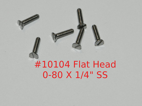 "0-80  2A Thread Flat Head, 82 degree,  Slotted Machine Screw, Length 1/4"", full thread, stainless steel #303. Price is for 100 pieces. polished.  This screw is made on precision screw machines and is not cold headed.  All parts are certified and traceable.  We can make parts to your design and specifications with very few limitations.  We carry a wide range of in stock fasteners. For more information email us at; sales@minitaps.com"