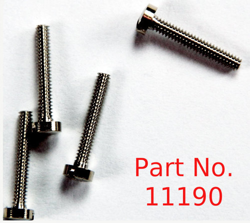 "Machine Screw thread 00-90 (0.052"") head diameter 2.5mm / 0.098"" Overall length is 8.8mm / 0.346"". Material: nickel silver a premium copper alloy resistant to tarnish often used in Jewelry and eye wear part color is silver. Parts packaged per 100 pieces with bulk pricing available. Matting hex nut # 11120"