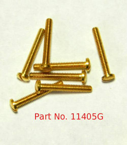 "Machine Screw, Pan Head, Special,  Thread M1.4 (1.40UNM), Pitch .30mm, Head diameter 2.5mm, Threaded Length 9.7mm (3/8""), Overall Length 10.5mm,  Material Nickel Silver; a copper alloy superior to brass. Finish Color ""Gold"",   Price is for 100 count package with bulk pricing available."