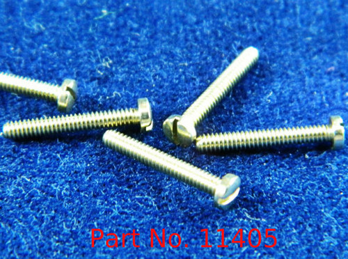 "Machine Screw, Pan Head, Special, Thread M1.4 (1.40UNM) Pitch .30mm Head diameter 2.5mm Threaded Length 9.7mm (3/8"") Overall Length 10.5mm Material Nickel Silver; a copper alloy superior to brass.  Finish Color ""Silver"" Price is for 100 count package with"