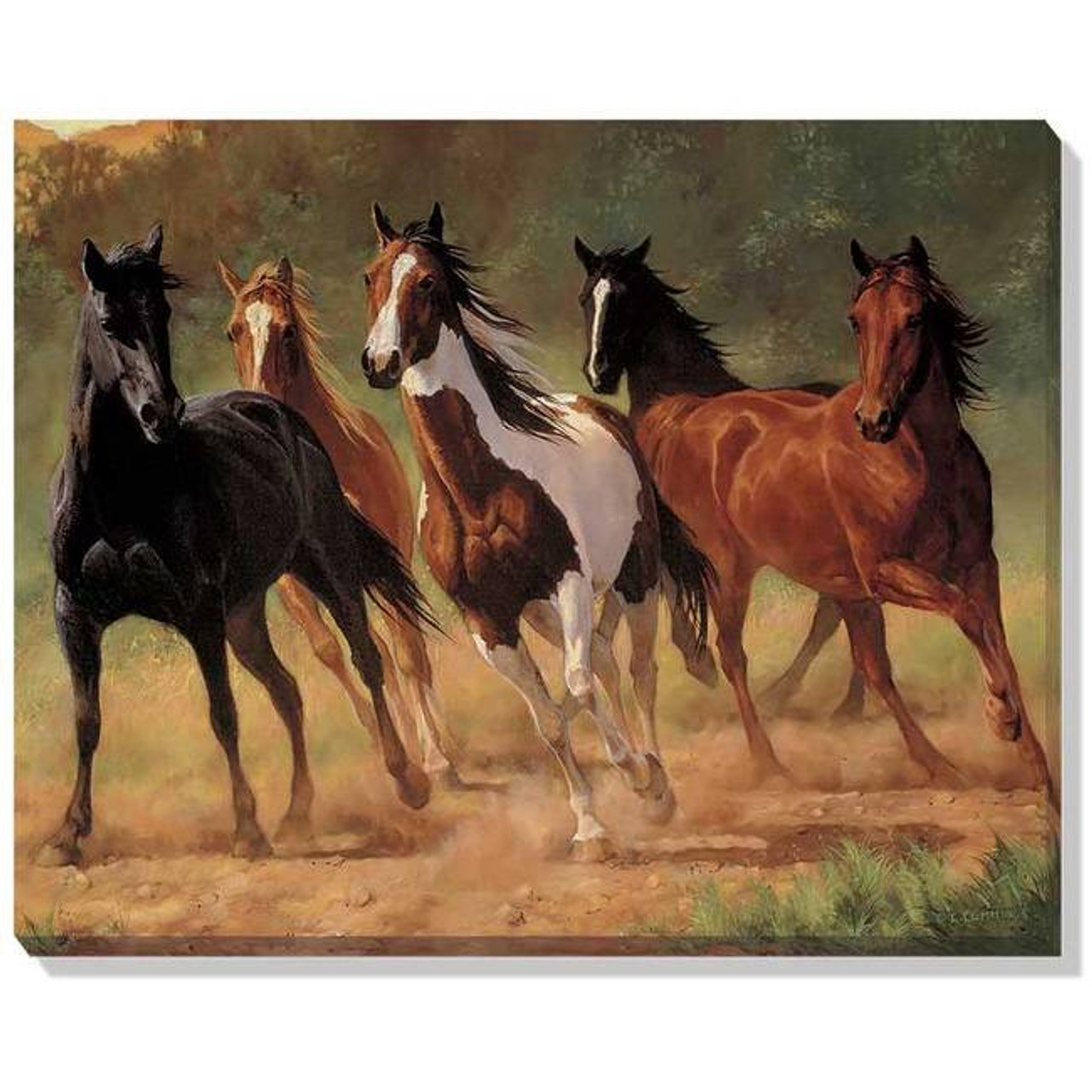 Eurographics 1751-1199 Mustang Horses Running Wyoming Stretched Canvas 24x36