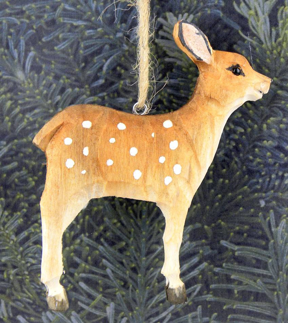 Hand Carved Wooden Fawn Deer Ornament