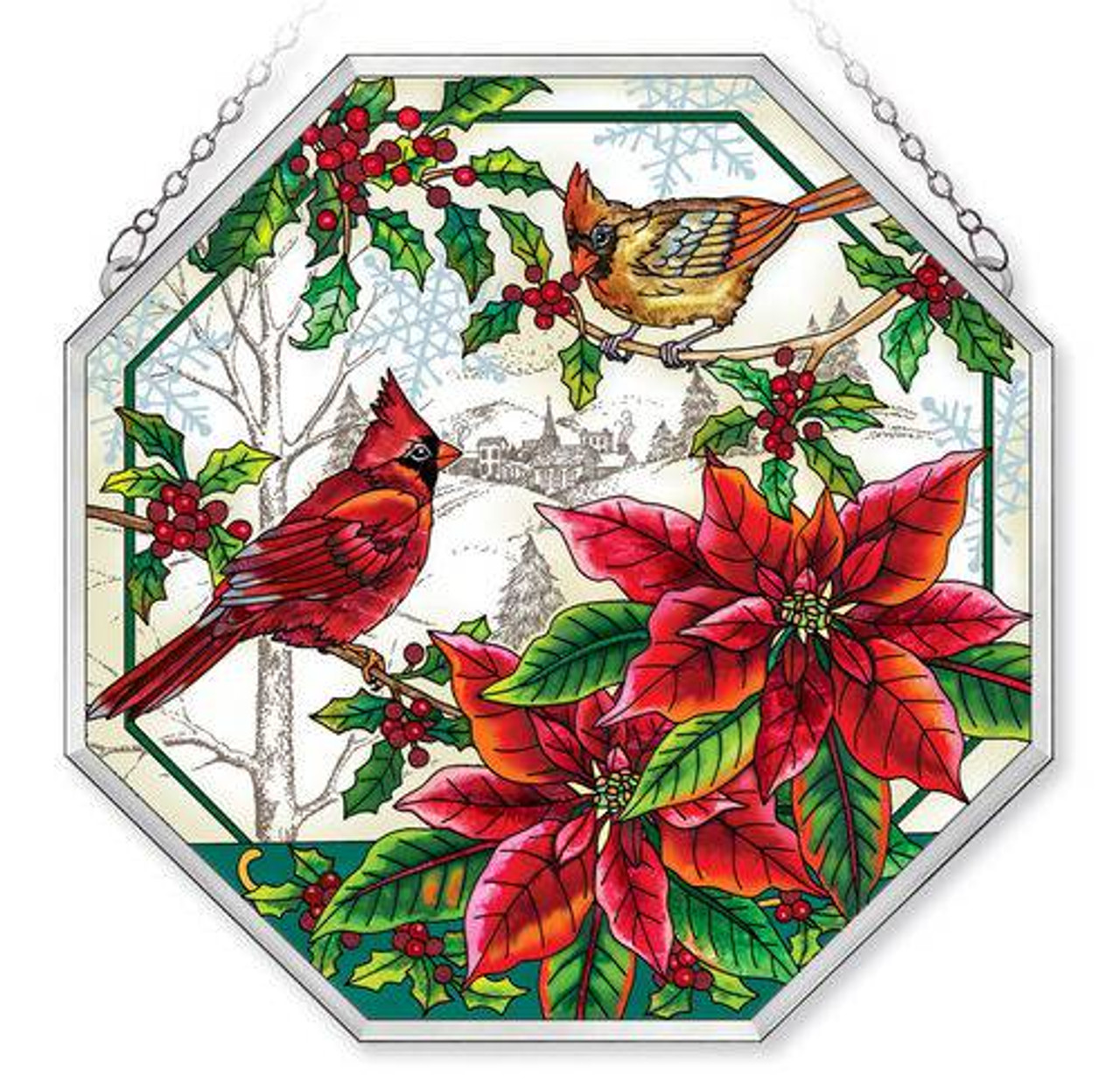 Christmas Cardinals Images.Holly Jolly Christmas Cardinals 15 Octagon Stained Glass Suncatcher