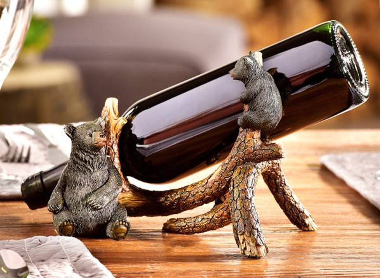 Bear And Tree Branch Wine Bottle Holder American Expedition