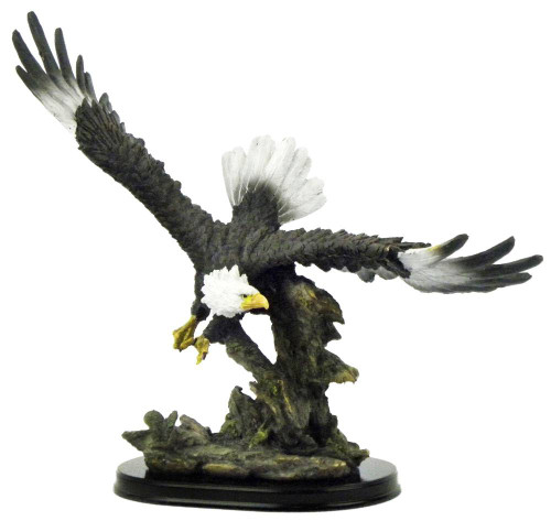 Flying Eagle Sculpture On Wood Base