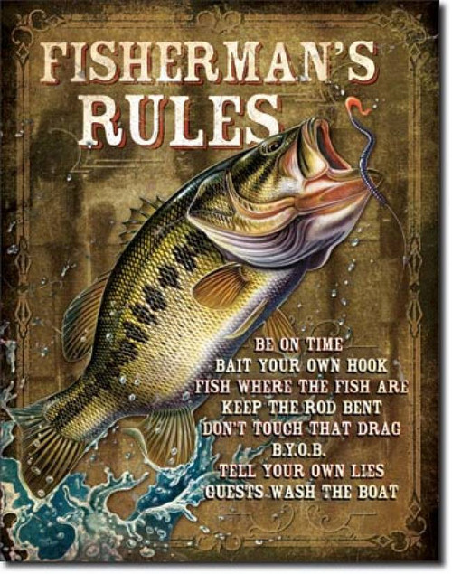 Fishing Bait Tackle Metal Tin Ad Sign Picture Lake Cabin Bar Wall Decor Gift