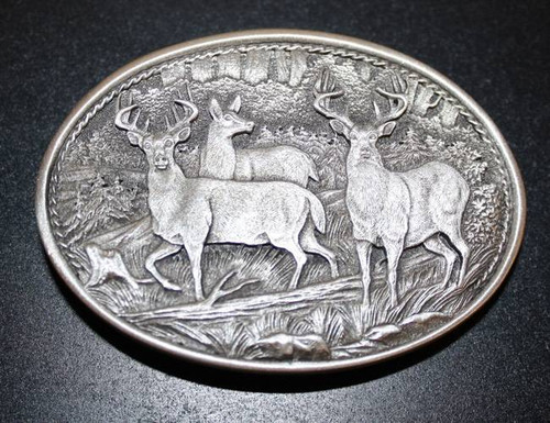 Whitetail Deer Pewter Belt Buckle