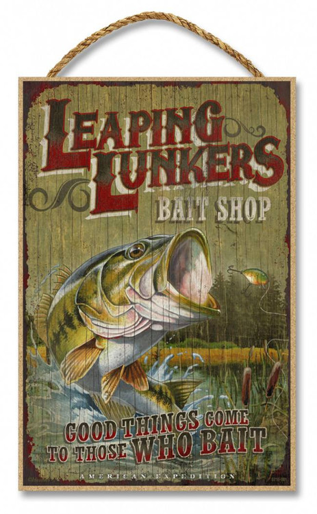 Leaping Lunkers Bait Shop Rustic Advertising Wooden 7 Quot X