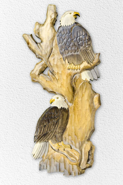 Eagles In Tree Wooden Wallhanging