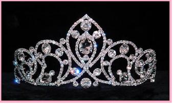 """2 7/8"""" Silver Crystal Quinceanera Tiara  QT-15836"""