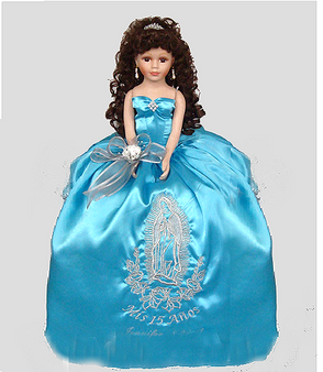 Virgen de Guadalupe Quinceanera Doll, available in every color