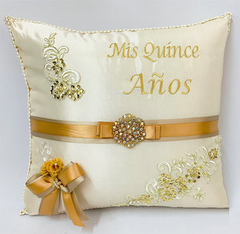 Champagne Quinceanera Pillow, Kneeling and Tiara Pillow Set